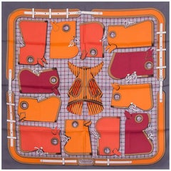 Hermes grey orange CAMAILS 90 silk twill Scarf