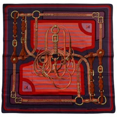 "Hermes Grey/Orange ""Coaching"" 70cm Silk Scarf Designed by Julie Abedie"