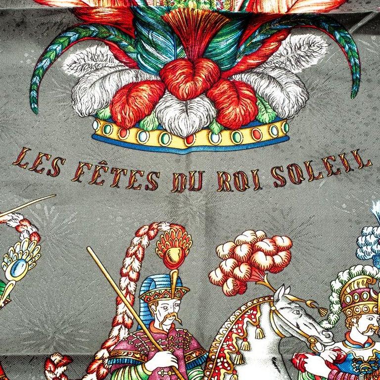 Women's Hermes Grey Silk Jacquard Les Fetes Du Roi Soleil Square Scarf