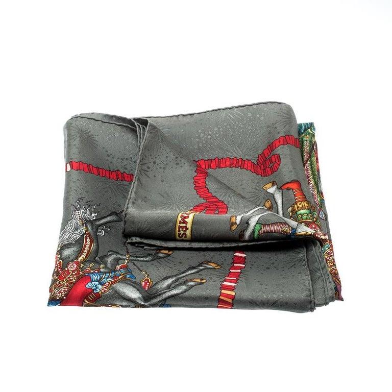 Hermes Grey Silk Jacquard Les Fetes Du Roi Soleil Square Scarf 2