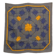 Hermes Grey Unicorn Silk Scarf by Michel Duchene