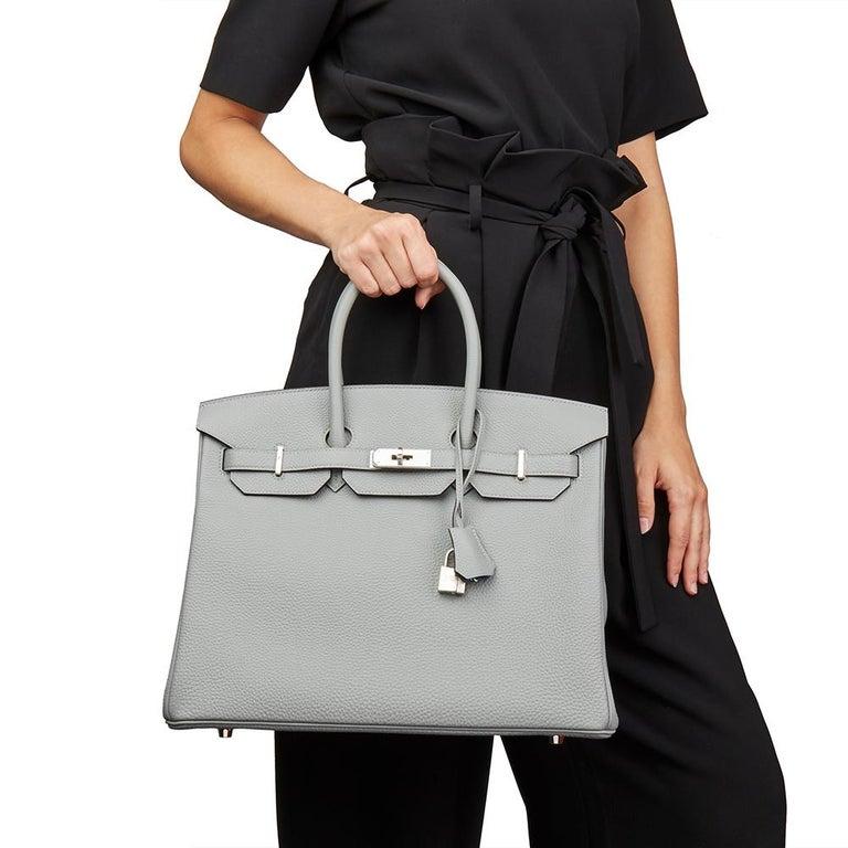 Hermès Gris Mouette & Blue Agate Togo Leather Verso Birkin 35cm For Sale 6