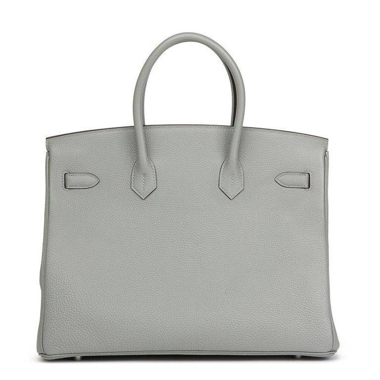 Hermès Gris Mouette & Blue Agate Togo Leather Verso Birkin 35cm In New Condition For Sale In Bishop's Stortford, Hertfordshire