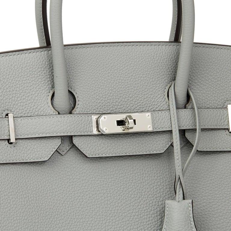Hermès Gris Mouette & Blue Agate Togo Leather Verso Birkin 35cm For Sale 1