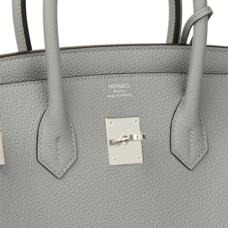 Hermès Gris Mouette & Blue Agate Togo Leather Verso Birkin 35cm For Sale 2