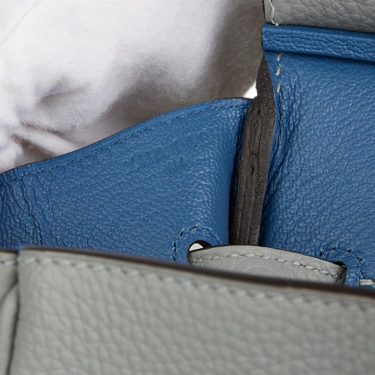 Hermès Gris Mouette & Blue Agate Togo Leather Verso Birkin 35cm For Sale 3