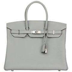 Hermès Gris Mouette & Blue Agate Togo Leather Verso Birkin 35cm