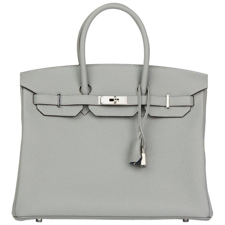 Hermès Gris Mouette & Blue Agate Togo Leather Verso Birkin 35cm For Sale
