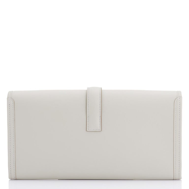Hermes Gris Perle Pearl Grey Jige Elan Clutch Bag 29cm Superb In New Condition For Sale In New York, NY