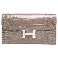 Hermès Gris Tourtarelle Alligator Constance Wallet