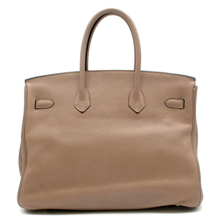 Brown Hermes Gris Tourterelle Clemence Leather Birkin 35 For Sale