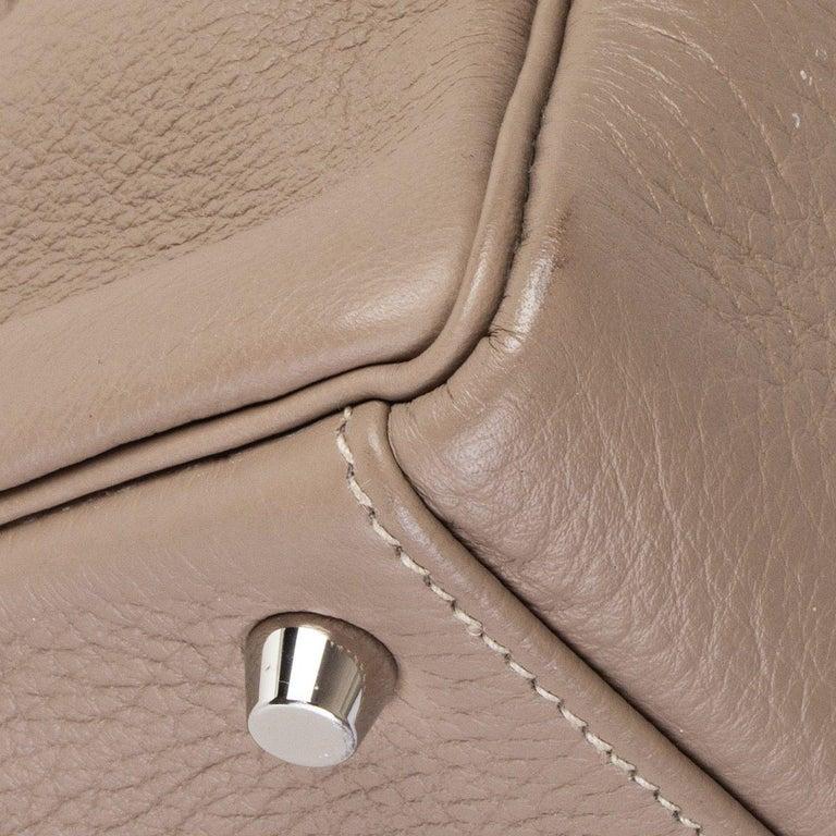 HERMES Gris Tourterelle grey Clemence leather & Palladium KELLY 35 Retourne Bag For Sale 6