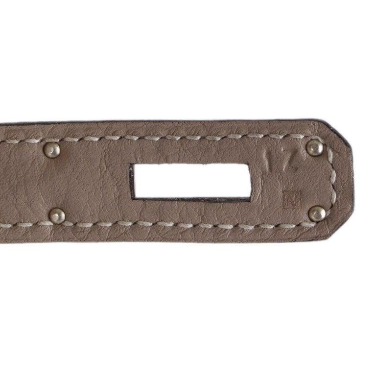 HERMES Gris Tourterelle grey Clemence leather & Palladium KELLY 35 Retourne Bag For Sale 4
