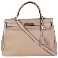 HERMES Gris Tourterelle grey Clemence leather & Palladium KELLY 35 Retourne Bag