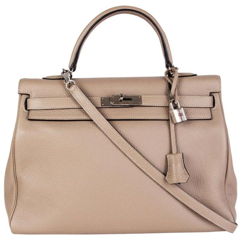 HERMES Gris Tourterelle grey Clemence leather & Palladium KELLY 35 Retourne Bag For Sale