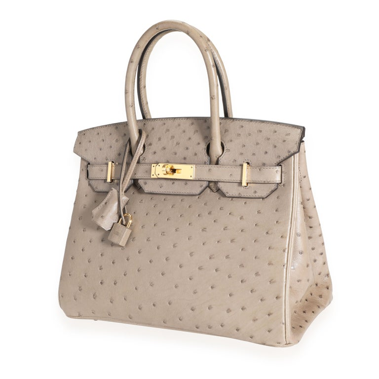 Hermès Gris Tourterelle Ostrich Birkin 30 GHW SKU: 111416 MSRP:   Condition: Pre-owned (3000) Condition Description:  Handbag Condition: Very Good Condition Comments: Very Good Condition. Plastic on hardware. Darkening to corners. Faint scuffs to