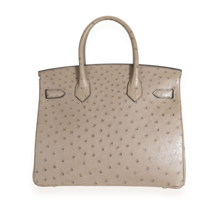 Hermès Gris Tourterelle Ostrich Birkin 30 GHW In Good Condition For Sale In New York, NY