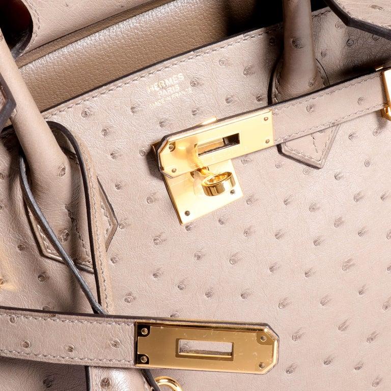 Women's Hermès Gris Tourterelle Ostrich Birkin 30 GHW For Sale