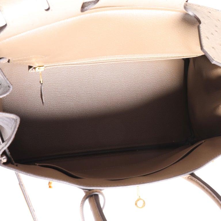 Hermès Gris Tourterelle Ostrich Birkin 30 GHW For Sale 2