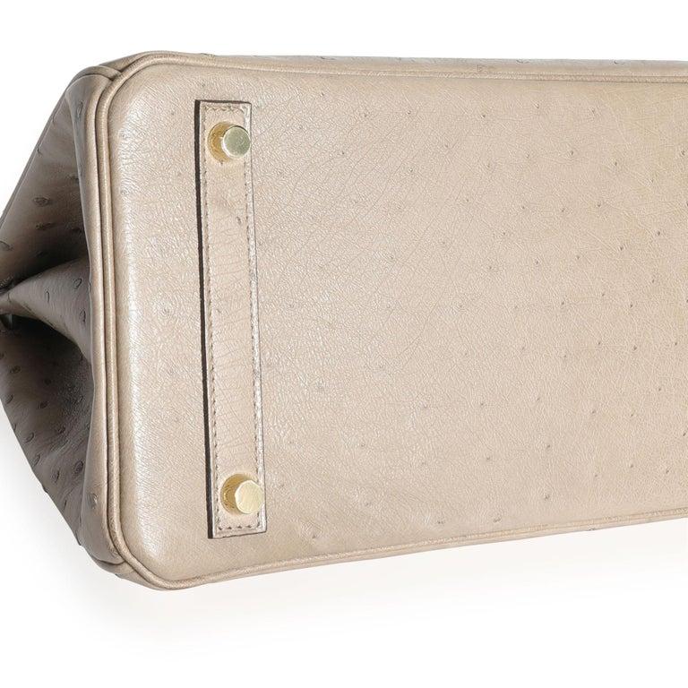 Hermès Gris Tourterelle Ostrich Birkin 30 GHW For Sale 3