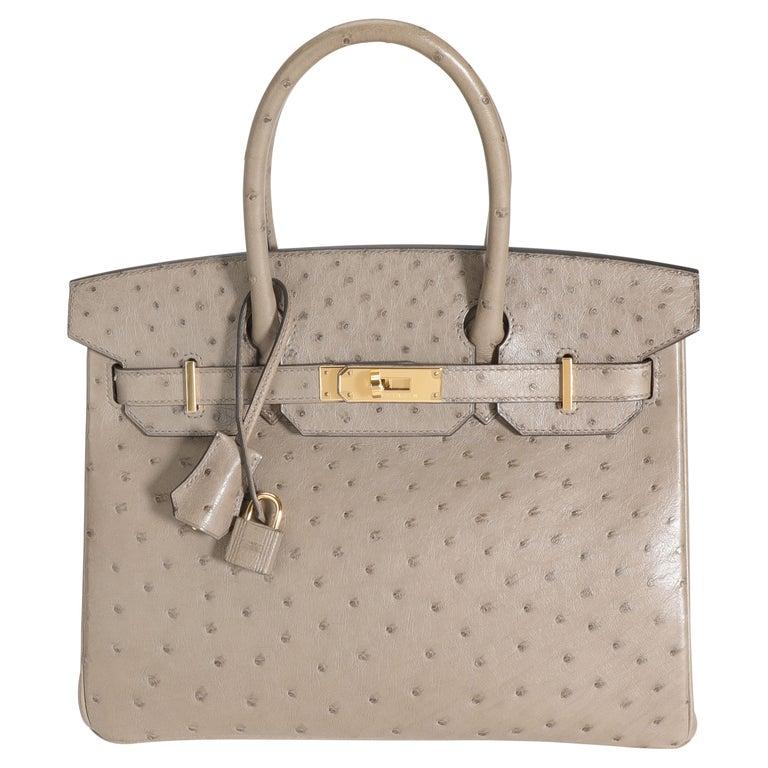 Hermès Gris Tourterelle Ostrich Birkin 30 GHW For Sale