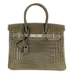 Hermès Gris Tourterelle Shiny Niloticus Crocodile Birkin 30 PHW