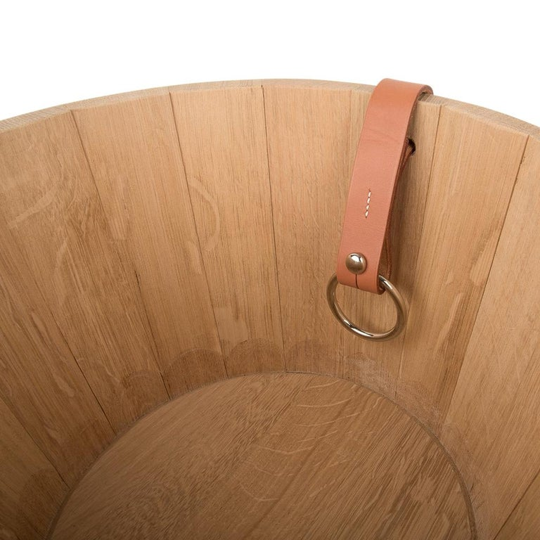 Hermes Groom Stable Bucket Oak Wood Leather Handle New In New Condition For Sale In Miami, FL