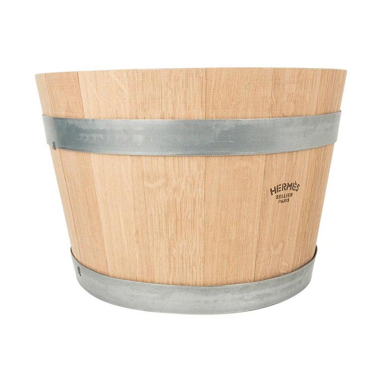 Hermes Groom Stable Bucket Oak Wood Leather Handle New For Sale 1