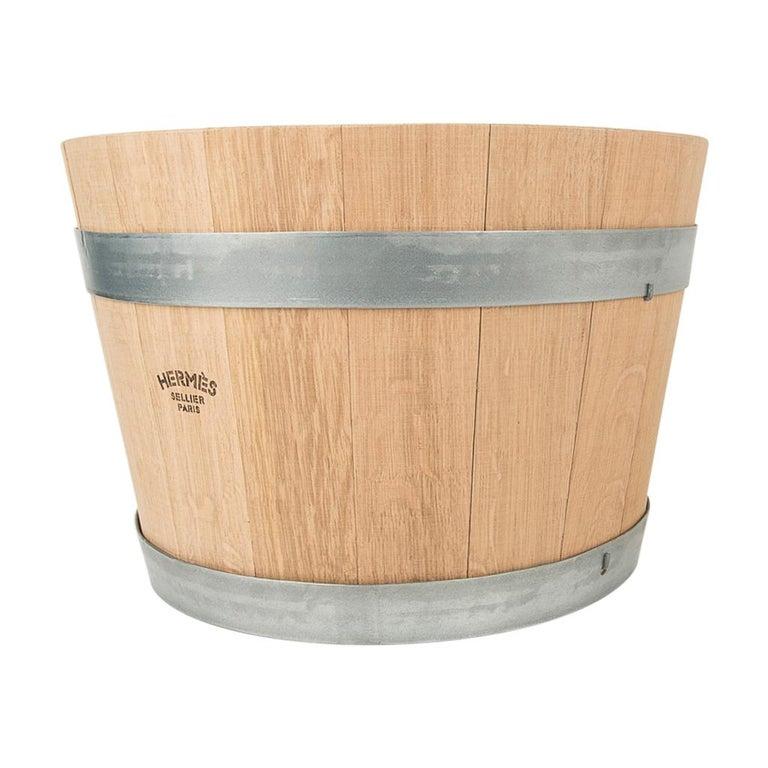 Hermes Groom Stable Bucket Oak Wood Leather Handle New For Sale 3