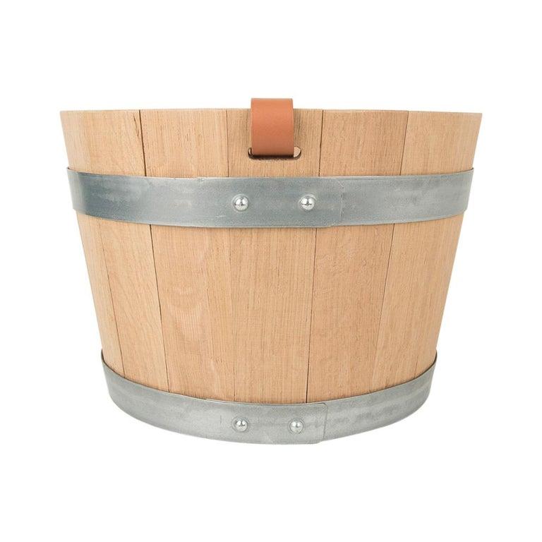 Hermes Groom Stable Bucket Oak Wood Leather Handle New For Sale 5