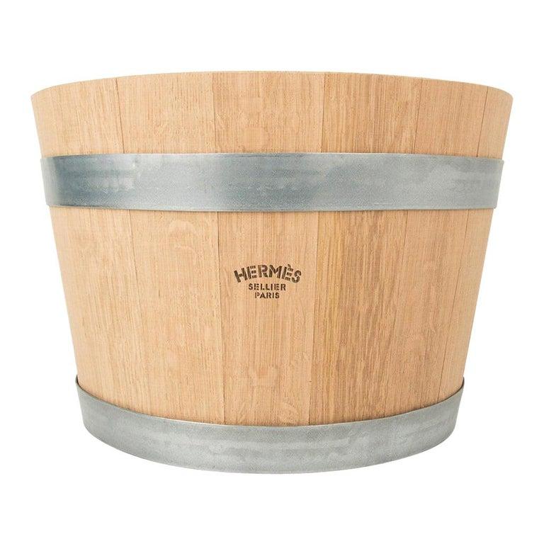 Hermes Groom Stable Bucket Oak Wood Leather Handle New For Sale