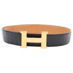 Hermes H-belt Alligator Leather - black