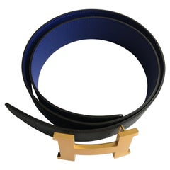 Hermes H Belt in Black and Bleu Electrique. Epsom