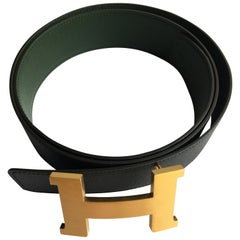 Hermes H Belt in Black and Vert Anglais. Epsom