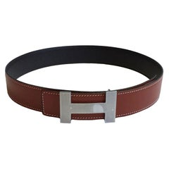 HERMES H Belt In Brown Swift And Chocolate Epsom Calfskin
