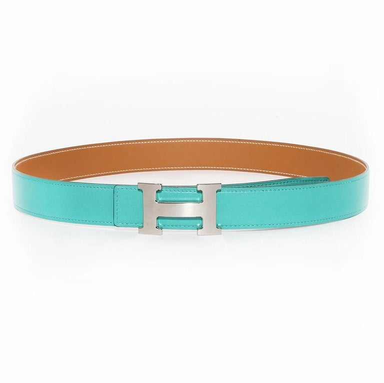 Hermés H Belt  Made in France  Reversible  One side is Teal One side is cappuccino brown Silver paladin plated H buckle Buckle is detachable  3 punch holes Stamped 85cm Length Stamped Hermés Paris Made in France on brown side of belt  Excellent