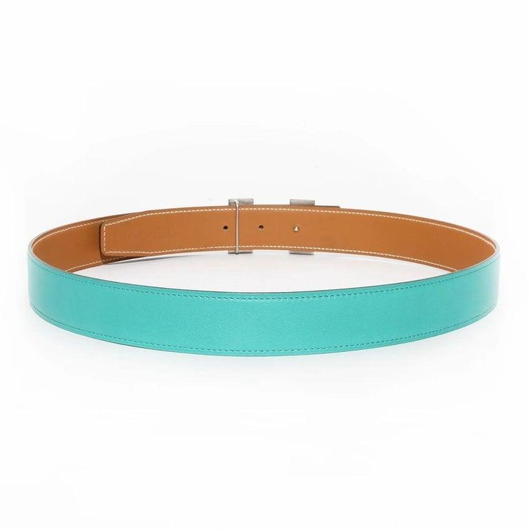 Blue Hermés H Buckle Belt For Sale