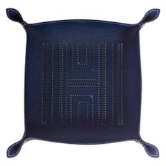 Hermes H Chevrons Mises Et Relances Change Tray Blue Regate / Ebene New w/Box