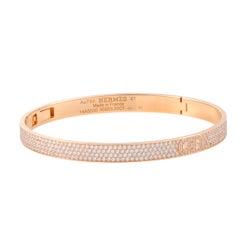 Hermès H D'Ancre Diamond Pave Rose Gold Bangle Bracelet