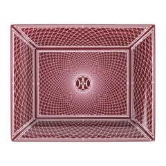 Hermes H Deco Change Tray Rouge w/ White Porcelain