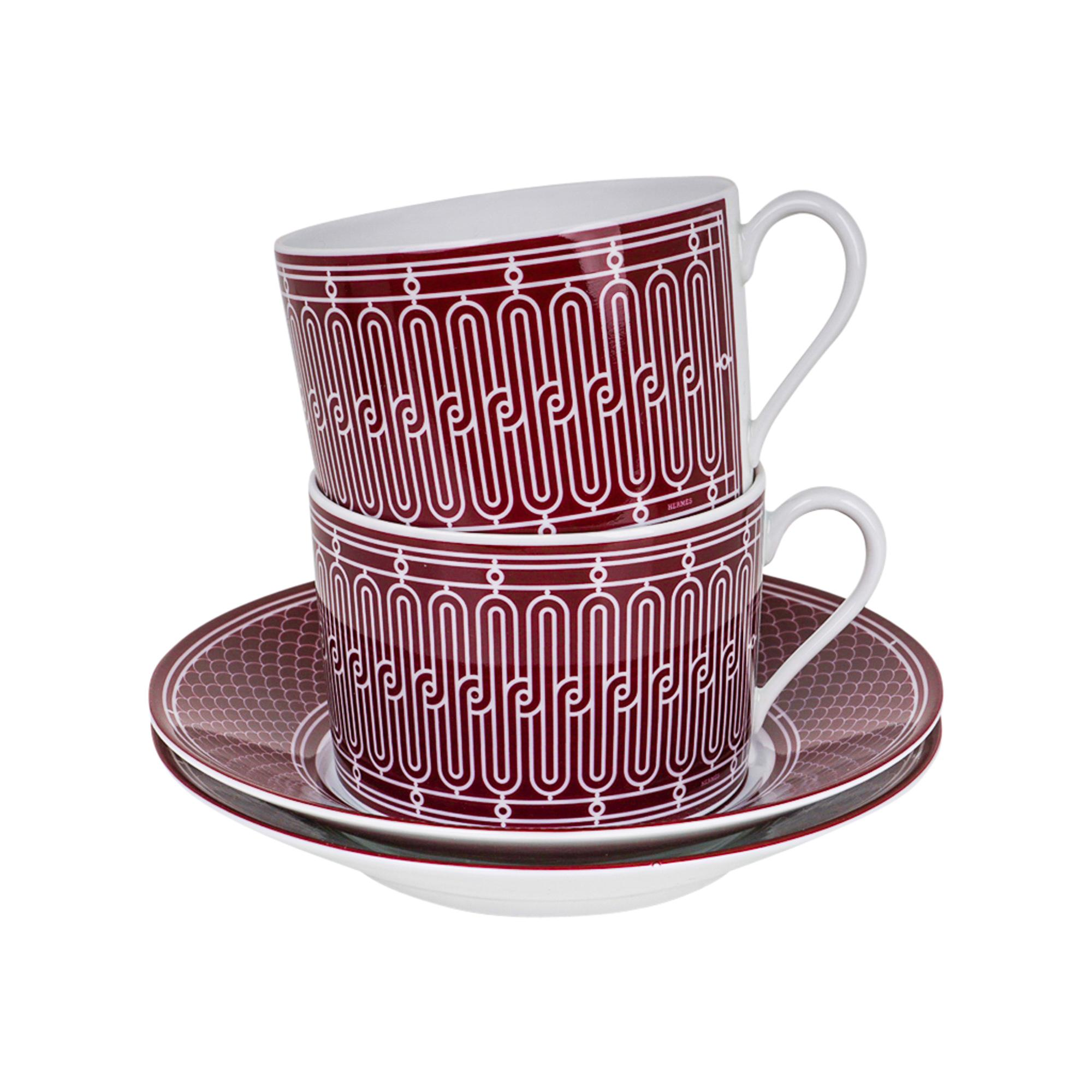 Hermes H Deco Rouge Tea Cup and Saucer Porcelain Set of 2 New w/ Box