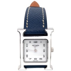Hermès H Hour White Dial and Blue Leather Ladies Watch