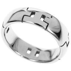 Hermes H Logo 18 Karat White Gold Hercules Ring