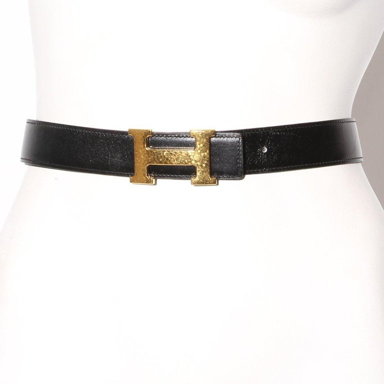 Black Hermès H Reversible Belt Circa 2011