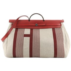 Hermes H Vibration Herbag Zip Cabine Printed Toile and Leather 50