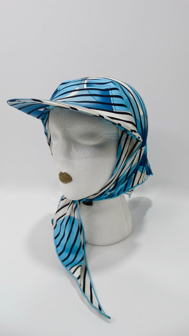 Hermes H20 Blue Pointu Scarf Cap In Good Condition For Sale In Scottsdale, AZ