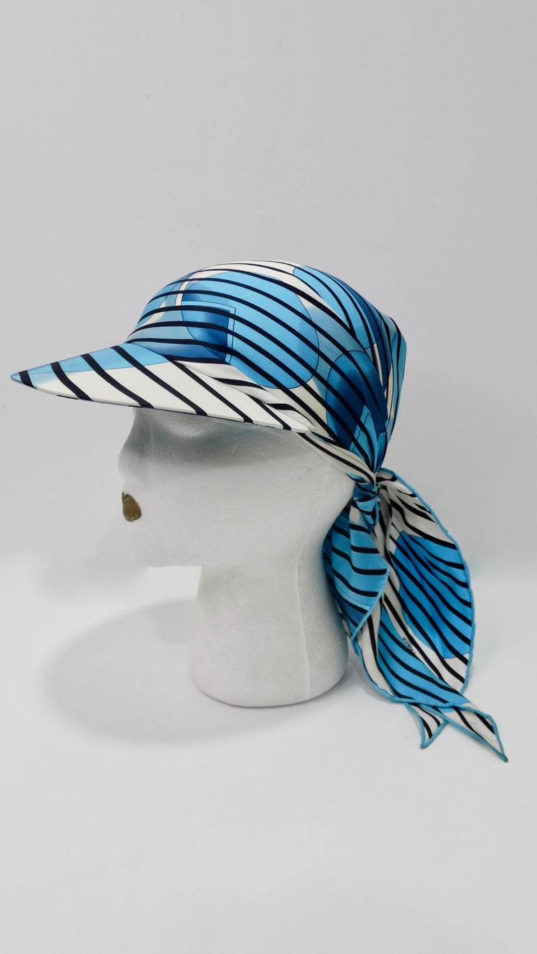 Hermes H20 Blue Pointu Scarf Cap For Sale 4