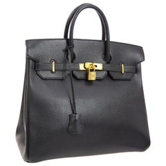 Hermes HAC 32 Black Leather Gold Carryall Travel Top Handle Tote Bag