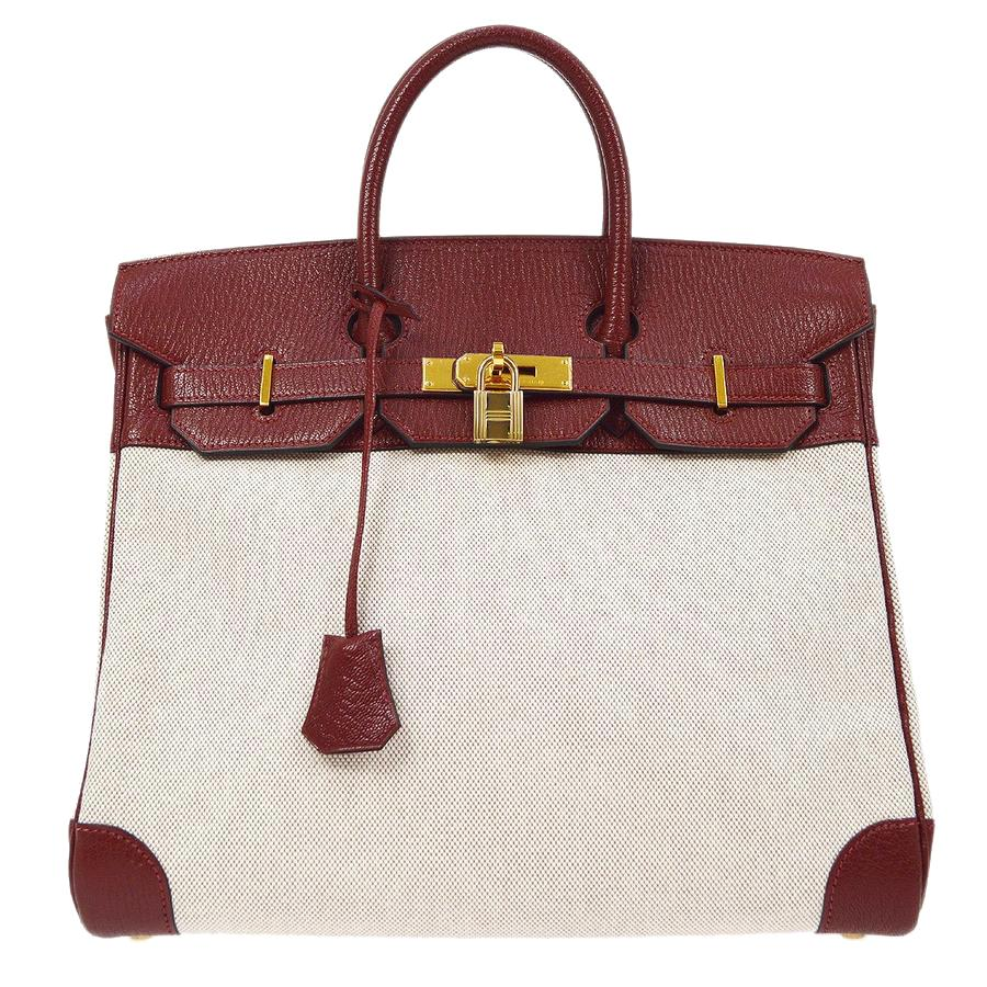 Hermes HAC 32 Burgundy Red Leather Canvas Travel Carryall Top Handle Tote Bag