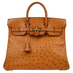 Hermes HAC 32 Cognac Ostrich Exotic Gold Travel Carryall Top Handle Tote Bag